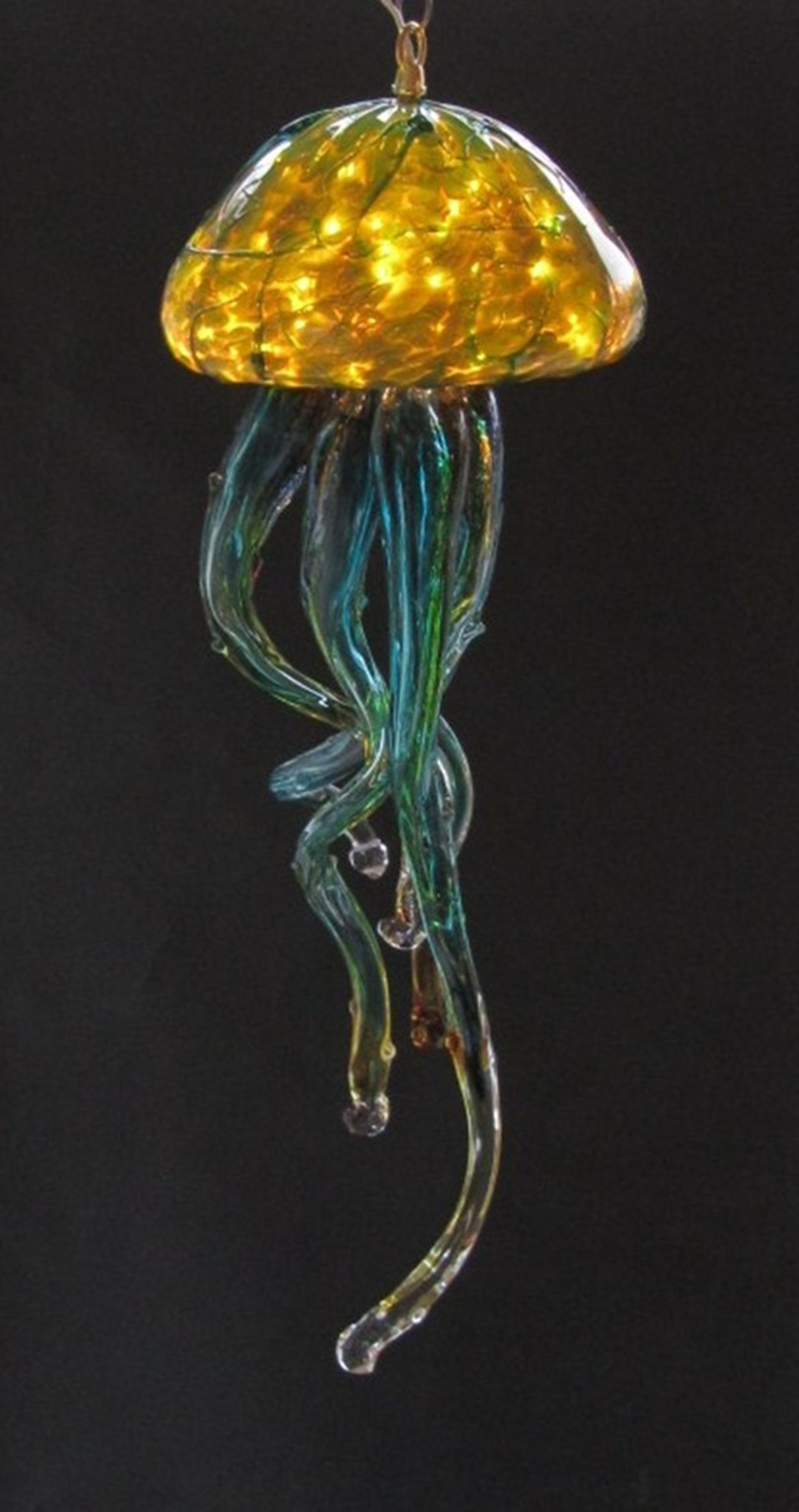 Jelly Fish Chandelier Silver Green – Opal Art Glass