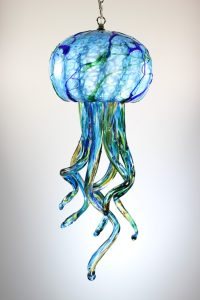 The jellyfish comes on a 18' chain and Led Light Bulb.